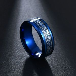 Other - 8mm Stainless Steel Celtic Dragon Ring - Blue